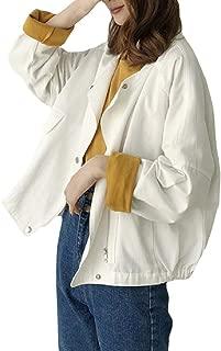 Energy Womens Short Pocket Long Sleeve Baggy Zip Denim Solid Coat Jacket