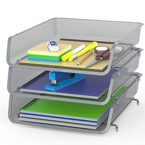3 Pack - Stackable Desk File Document Letter Tray Organizer, Silver