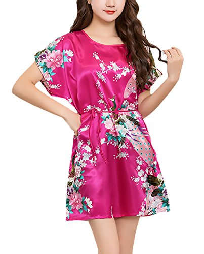 Mujer Pijamas Verano Corto Manga Corta Cuello Redondo Elegante Niñas Ropa Vestido Pijama Homewear Moda Impresión Floral Baño Confort Pijama (Color : Rosa, Size : One Size)