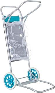 Carro portasillas plegable azul de aluminio para camping y