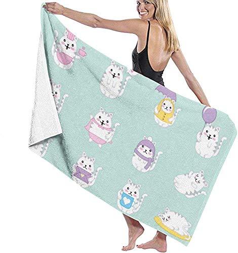 Edmun Mikrofaser Strandtuch niedlichen Katzen Badetuch stranddecke schnell trocknend Handtuch für Schwimmbad Yoga Camping Gym Sport 80 * 130 cm