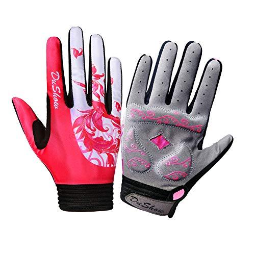 DuShow Cycling Gloves Women Full Finger Red Touchscreen Bike Gloves Gel Padded Bicycle Long Gloves Mountain Biking Riding Gym Sport Gloves (Red, Medium)