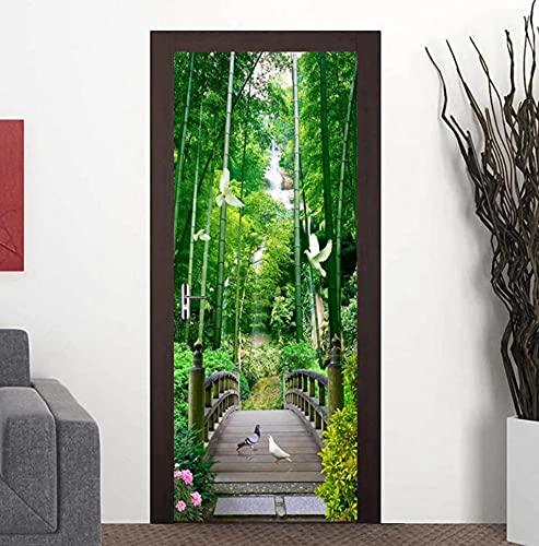 Etiqueta engomada autoadhesiva impermeable de la puerta del bosque de bambú Puente de madera Paloma Papel tapiz fotográfico 3D para sala de estar Dormitorio Puerta Mural 77 * 200 cm