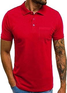 Camisas de Manga Corta Hombre con Bolsillo Moda Diario Slim Fit Casual T-Shirt Blusas Camisas Elegante BáSica Camiseta par...