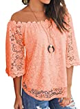 MIHOLL Women's Lace Off Shoulder Tops Casual Loose Blouse Shirts (Pink, Large)
