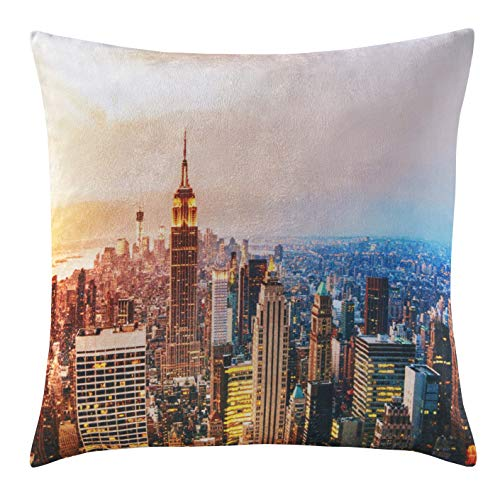 Digital Printed Plush Velvet 3D City World Themed Square Cushion Covers (18'x 18') (New York City)