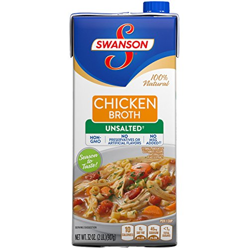 Swanson Unsalted Chicken Broth, 32 oz. Carton (Pack of 12)