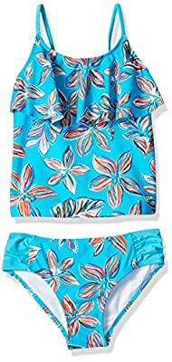 Kanu Surf Girls' Little Flounce Tankini Beach Sport 2-Piece Swimsuit, Charlotte Aqua Floral, 5
