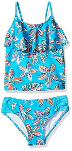 Kanu Surf Girls' Little Flounce Tankini Beach Sport 2-Piece Swimsuit, Charlotte Aqua Floral, 6X