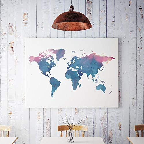 Dass Canvas Art Print Blue World Map Nordic Poster And Print Mural, Modern Living Room Children's Room Home Decoration Mural Canvas Painting No Frame (Size : A4 21X30cm No Framed)