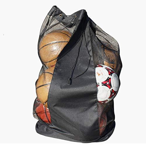 Bolsa de deporte de malla – Bolsa de malla grande con múltiples bolsillos de bola con correa ajustable para el hombro para baloncesto, voleibol, béisbol y juguete de piscina, No nulo, negro, 43.3'' x 19.2''