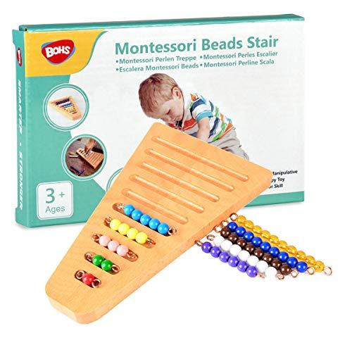 BOHS Montessori 1-10 de Bolas de Escalera con Soporte - Montessori Matemáticas Materiales manipulativos - Aprendizaje Preescolar Juguetes educativos