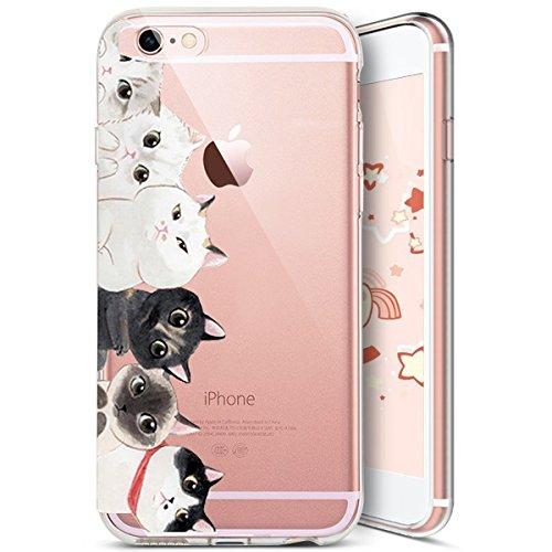 YSIMEE Compatible con Carcasa iPhone 5S/SE,Fundas Transparente Silicona Suave Ultra Fina Delgado Gel Bumper TPU Goma Protectora Carcasas -Gato*10