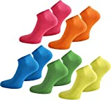 normani 10 Paar Modische Sneaker Socken/Sneakers Baumwolle mit Elasthan - handgekettelt Farbe Neon Größe 37-42