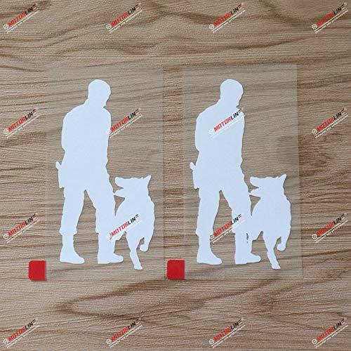 2X White 6'' K9 Unit K-9 Police Dog Decal Sticker German Shepherd Training Car Vinyl