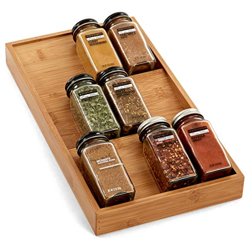 Seville Classics Bamboo Eco-Conscious 3-Tier Spice & Seasoning Rack Drawer Organizer Kitchen Home Pantry Tray Countertop and Space Saving, Single
