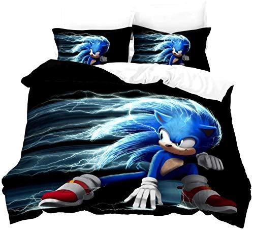 Ropa de Cama Sonic Anime Hedgehog Ropa de Cama para niños con Funda nórdica y Funda de Almohada Impresión Digital Microfibra 3D Poliéster (03 135x200 + 50x75x2)-07_200x200 + 50x75x2