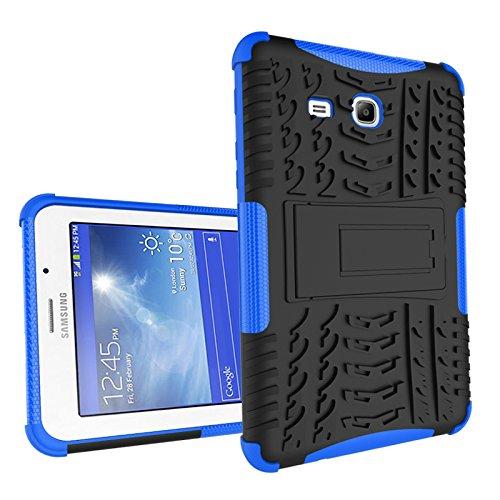YHUISEN Híbrido de doble capa de la armadura del desmontable pata de cabra 2 en 1 caso de la cubierta a prueba de golpes duro resistente para Samsung Tab 3 Lite 7.0 T110 ( Color : Blue )