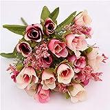 Triamisu 20 Head Roses Bundle Home Living Room Decoración de la Boda Flores Flores Artificiales de Seda - Rosa Oscuro