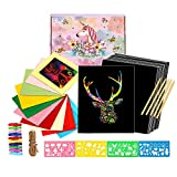 YUKKLY 50 Sheets Rainbow Scratch Paper; Scratch Art Paper; Black Doodle Pad with Rainbow Background with 10 Cardboard Frames, 5 Wooden Styluses and 4 Drawing Stencils