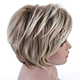 Rosa Star Short Wig Ombre Brown Mixed Blonde Hair Wigs Natural Curly with Bangs Synthetic Hair Fibers Heat Resistant Full Wig for Women