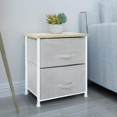 Huisen Furniture Grey Bed Beside Table Nightstand with Drawers for Kids Bedroom Unit Storage Drawers Cabinet Small Chest of Drawers Sideboard Living Room Children Room (2 Drawers: 45 * 30 * 51)
