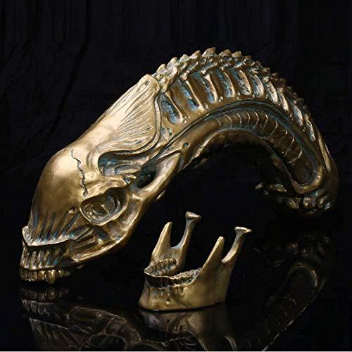 Escultura,y Figuritas para Jardín Alien Skull Model Resina Simulación Película Y Televisión Prop Decoración De Calavera.