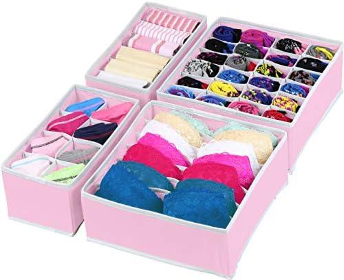 luluhut Bra Socks Knickers Organizer,Nylon net Fabric Underwear Organizer,Home Separated Drawer Organizer 3 Set Black