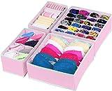 Simple Houseware Closet Underwear Organizer Drawer Divider 4 Set, Pink