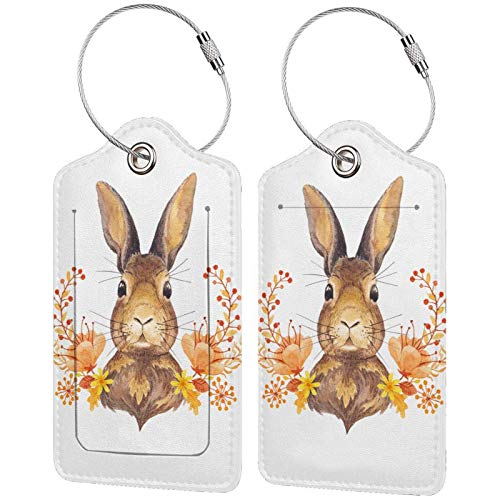 Leather Travel Luggage Tags,Bunny Rosette Printed Travel Id Labels,Business Card Holder,Suitcase Labels,Travel Accessories,with Privacy Cover Stainless Steel Ring
