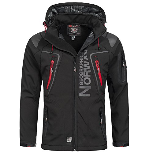 Geographical Norway Techno Herren Softshell Jacke Schwarz Gr. XXL