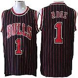 GLACX Jerseys de Baloncesto de los Hombres, NBA Chicago Bulls 1# Rose Retro Baloncesto Uniformes Verano Al Aire Libre Vestidos Deportivos Deportivos Sin Mangas Tops Camisetas,S