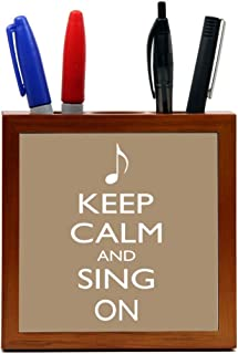 Rikki Knight 5-Inch Keep Calm and Sing on Brown Color Design Wooden Tile Pen Holder (RK-PH85)