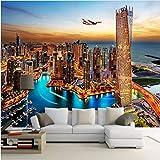 Wffmx Dubai City Night View Mural Wallpaper Pintura De Pared Personalizada Papel Pintado Sala De Estar Tv Fondo Foto Papel De Pared Rollos 3D-140X100Cm