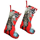 Pummbaby Krampus Christmas Folklore Girlmerry Christmas Stockings Xmas Socks Ornament Themed 10 Inch Double 2pcs Large Pair Formal Unique Female Male Hanger Pole
