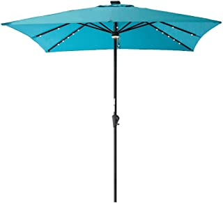 C-Hopetree Square Solar Outdoor Patio Market Umbrella with LED Lights for Table Deck Garden or Pool 7'6