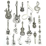 Music Notes Charms, JIALEEY Wholesale Bulk Lots Music Elements Musical Instrument Beads Pendants for Necklace Bracelet Jewelry Making and Crafting(Silver)