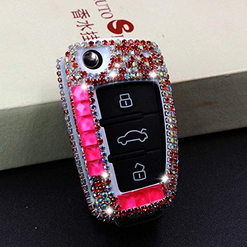 HUAQIANYU Car Accessories Key Shells,Car Key Cover Case Keychain , Luxury Diamond Car Key Case Cover, Key Shell With Key Chain, Compatible With For Audi A1 A3 A4 A5 Q7 A6 C5 C6,A,RoseA-Rose