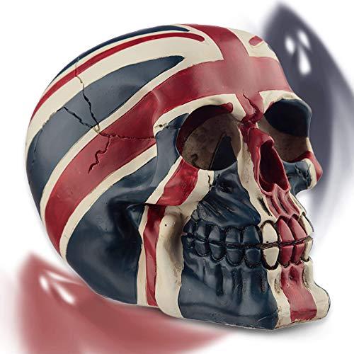 mtb more energy Deko Totenkopf ''Hard Brexit'' Totenschädel Figur - Höhe 10.5 cm - Dekoration UK GB Britain England Flagge