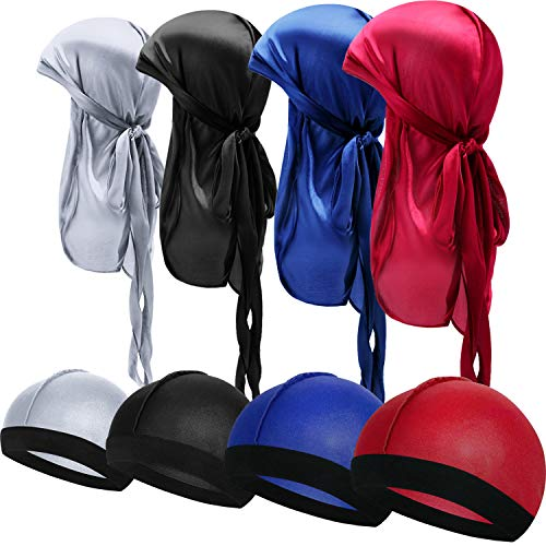 8 Pieces Silky Durag Caps Elastic Wave Cap Long Tail Headwraps Wide Straps Waves (Red, Grey, Black, Royal Blue)