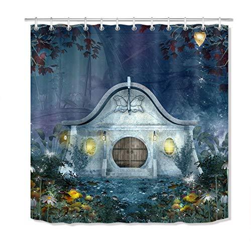 OqgsMindyzk Halloween Zauberwald Duschvorhang wasserdichtes Gewebe, Umweltschutz, Home Art, 180x180cm