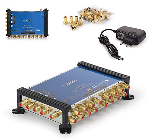 [Test 2X SEHR GUT*] Anadol Gold Line Multischalter 5/16 für Satellit Multiswitch für 1 Satelliten -16 Ausgänge/Receiver - Sat-Verteiler externes Netzteil - Multischalter - 21 vergoldeten F-Stecker