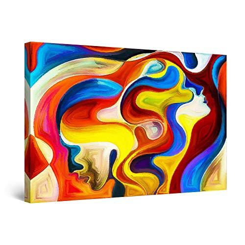 Startonight Cuadro Moderno en Lienzo Nuestras Caras Yo y Tu - Pintura Abstracta Para Salon Decoración Grande 80 x 120 cm