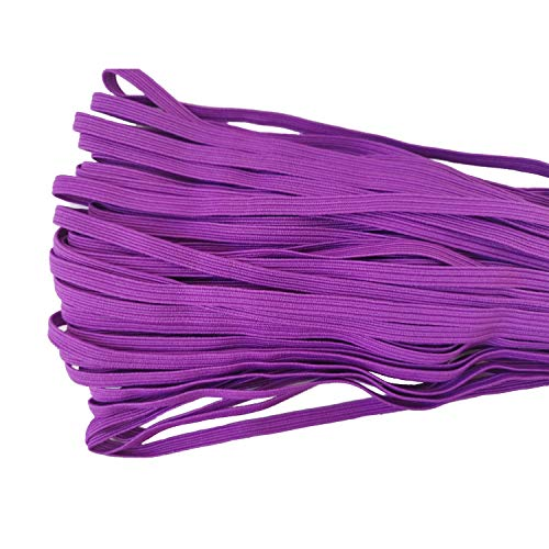 30 Yards Length 1/4 Inch Width Briaded Elastic Band Elastic Rope Purple Heavy Stretch Knit Elastic Spool