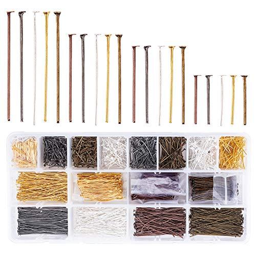 PandaHall 2000 alfileres de cabeza plana de hierro de 4 tamaños 5 colores, para manualidades, pendientes y pulseras