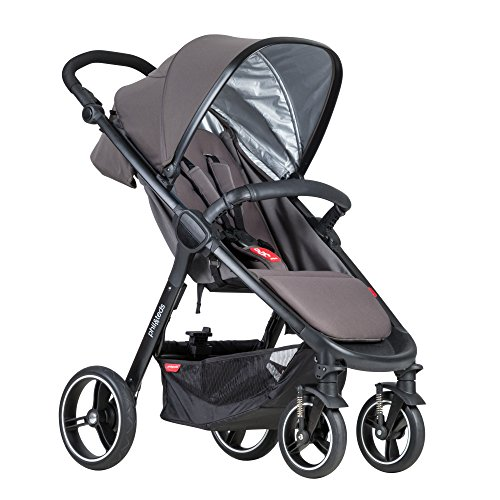 phil&teds Smart City Stroller, Graphite – Huge Seat - Easy and Compact Standing Foot Fold – Newborn Ready – Huge Canopy – Puncture Proof Tires – Hand Operated Brake – Travel System Ready