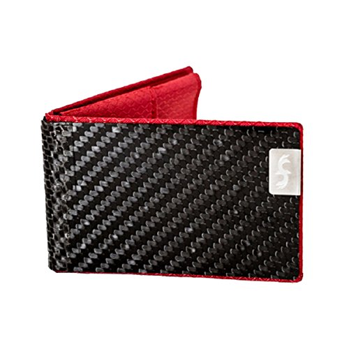 Common Fibers Mens Slim Biz Real Carbon Fiber Business Card Holder with RFID Credit Card Protection (Red)
