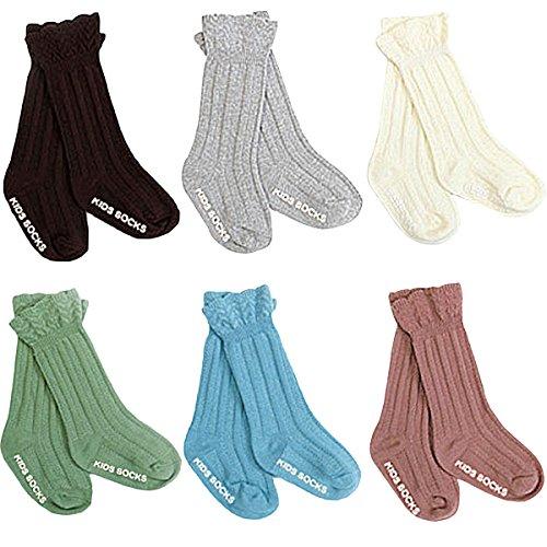 ZUMUii Butterme coton Chaussettes en maille tricotée pour le genou Chaussettes antidérapantes pour les enfants de 2 à 4 ans Petits bébés Enfants en bas âge Garçons 6 packs