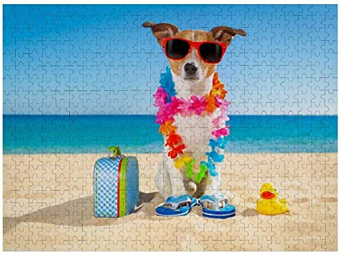 500 Pieces Jigsaw Puzzles, Black Crow Raven Bird Art, Intellectual Decompressing Fun Family Puzzles Game for Kids Adults-Beach Funny Jack Russell Dog-500 Pieces