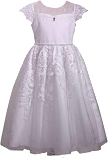 Bonnie Jean Girl's First Communion Dress with Cross Trim